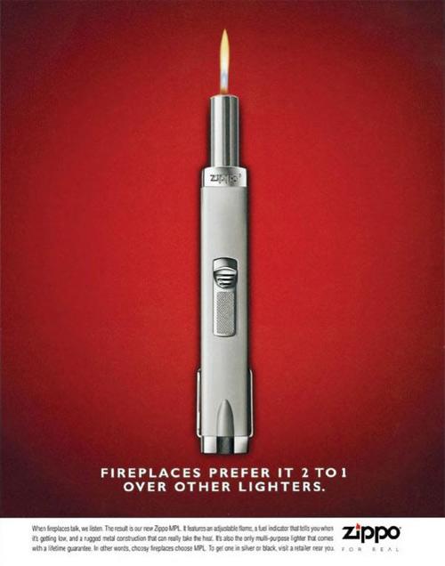 publicité pour briquet zippo