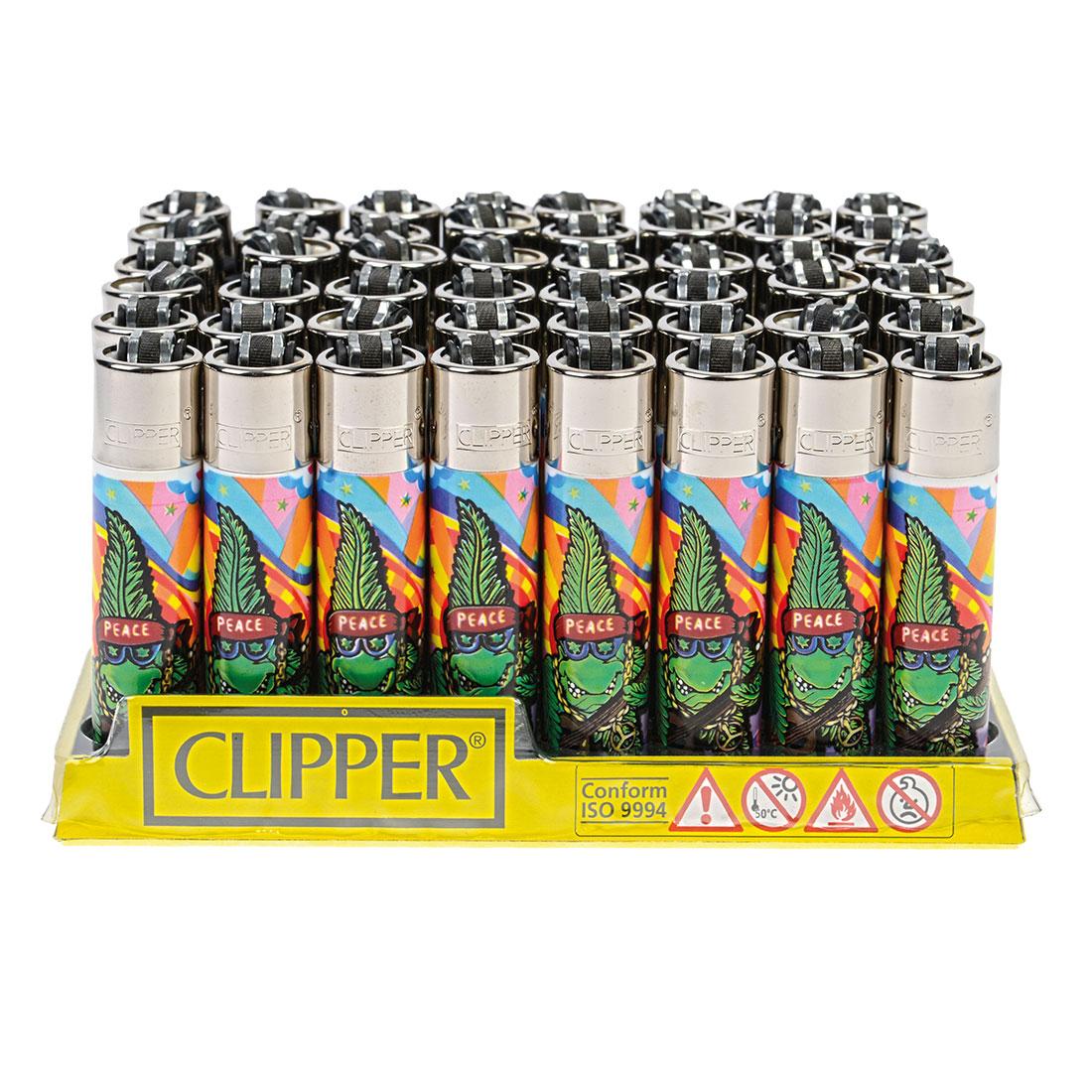 lot de 48 briquets clipper cannabuds peace briquets. Black Bedroom Furniture Sets. Home Design Ideas