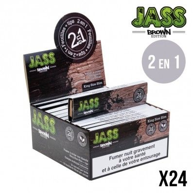 .FEUILLE A ROULER JASS SLIM + TIPS BROWN X24
