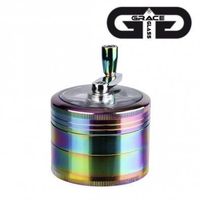GRINDER MANIVELLE GRACE GLASS RAINBOW 4 PARTIES 63MM