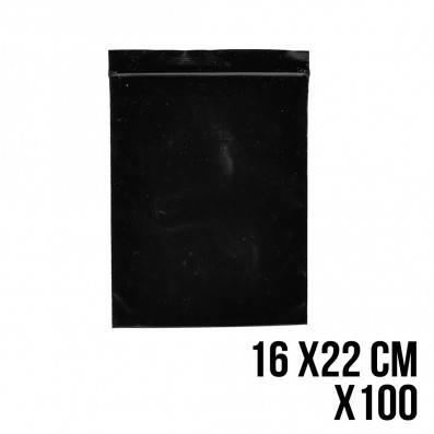 SACHET ZIP NOIR 16 X 22 CM X100