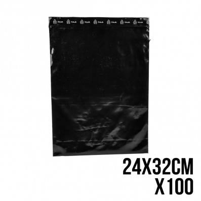 SACHET ZIP NOIR 24 X 32 CM X100