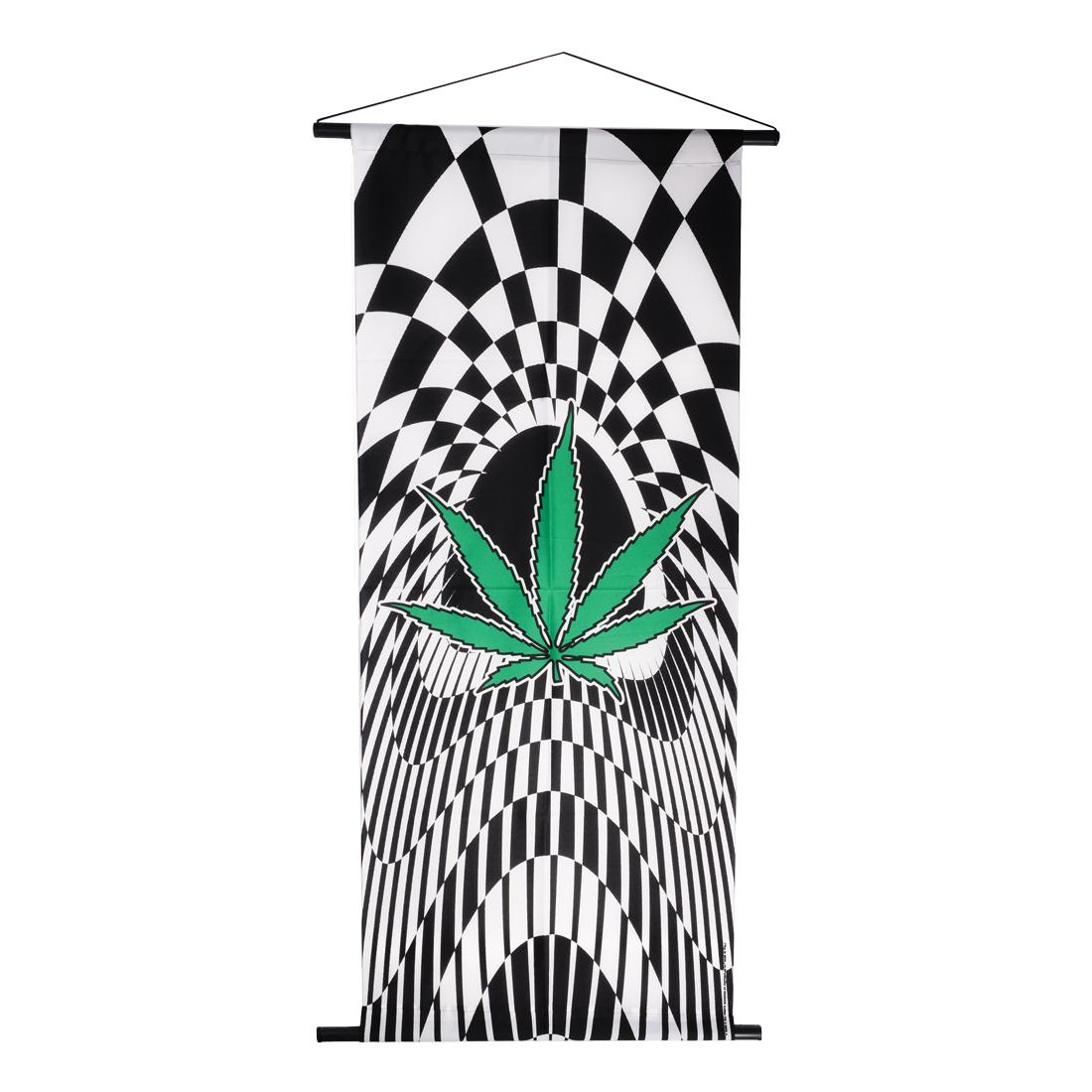 drapeau damier leaf 52 x 125 cm