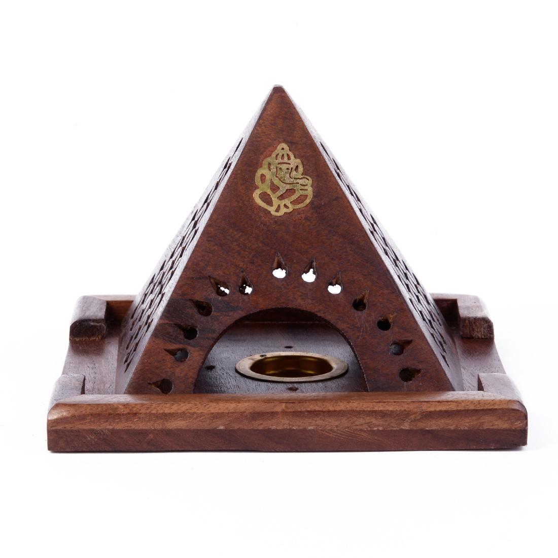 porte encens cones bois pyramide