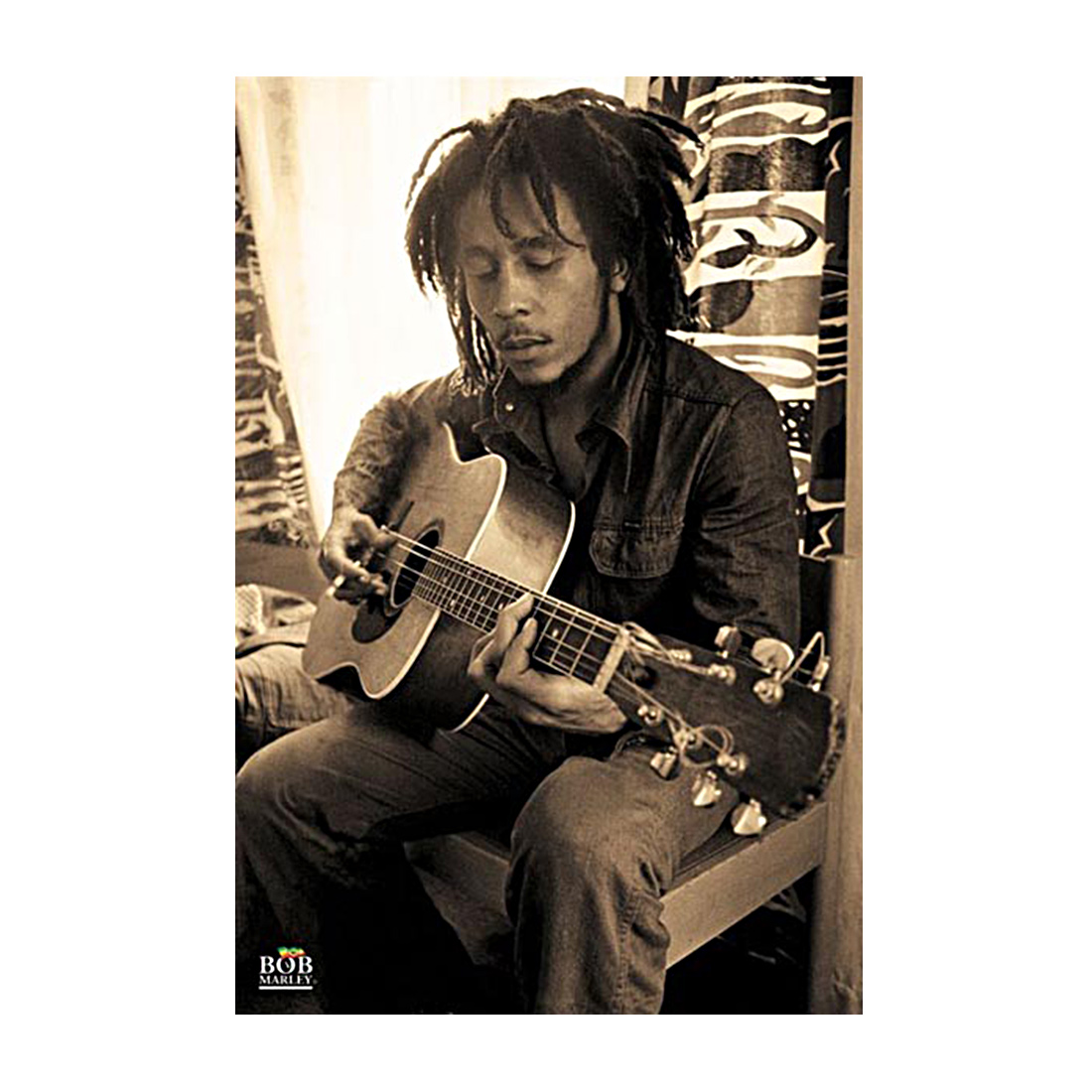 poster bob marley guitare sepia poster pas cher planete. Black Bedroom Furniture Sets. Home Design Ideas