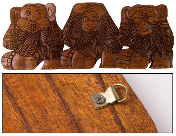 Plaque 3 singes de la sagesse