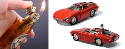 un briquet fantaisie en forme de voiture ou de canette